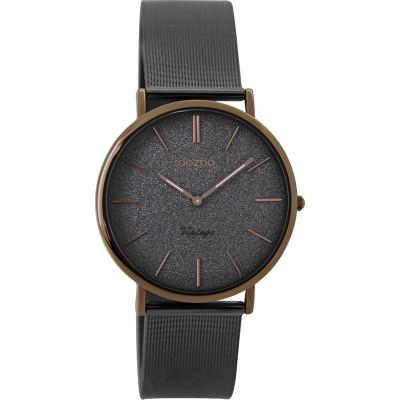 OOZOO Vintage horloge Zwart / Bruin 32mm
