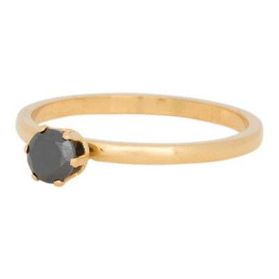 iXXXi Ring Crown Black Diamond Stone Goud R4205-1