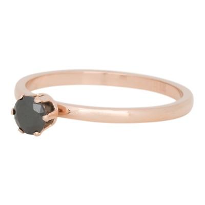 iXXXi Ring Crown Black Diamond Stone Rose R4205-2
