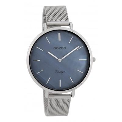 OOZOO Vintage horloge Zilver/Blauw 40mm C9390