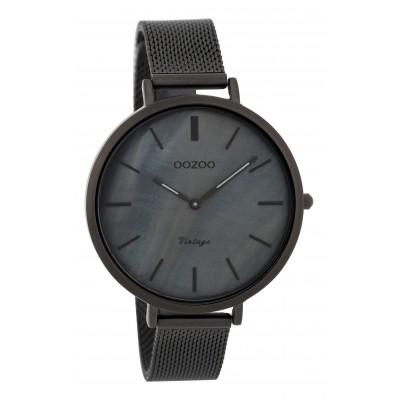 OOZOO Vintage horloge Zwart/Blauw 40mm C9393