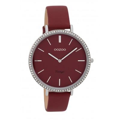 OOZOO Vintage horloge Bordeaux Strass 40mm C9802
