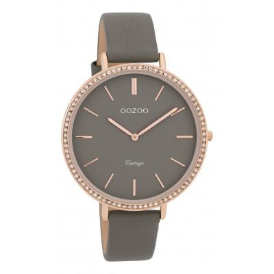 OOZOO Vintage horloge Grijs Strass 40mm C9803