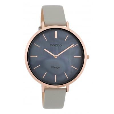 OOZOO Vintage horloge Grijs/Blauw 40mm C9805