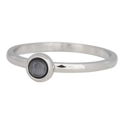 iXXXi ring natuursteen grijs 2mm zilver