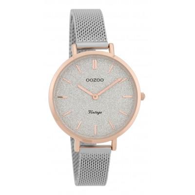OOZOO Vintage horloge Zilver/Rose 34mm C9826