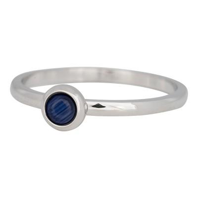iXXXi ring natuursteen navy blue 2mm zilver