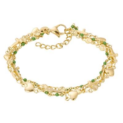 IXXXI Armband Ghana Green Beads Goud