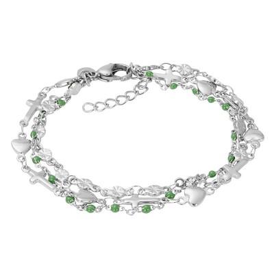 IXXXI Armband Ghana Green Beads Zilver